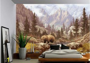 Fabric Murals for Walls Grizzly Bear Mountain Stream Wall Mural Self Adhesive Vinyl