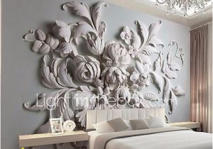 Fabric Murals for Walls Jammory Embossed White Flower Decoratio 3d Fashion Wallpaper