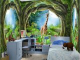 Fairy forest Wall Murals 3d Stereo Fantasy Fairy forest Tree Animal House theme Murals
