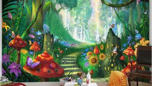 Fairy forest Wall Murals Custom Mural Wallpaper 3d Cartoon Fairy forest Mushroom Path Wall