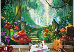 Fairy forest Wall Murals Custom Mural Wallpaper 3d Cartoon Fairy forest Mushroom Path Wall