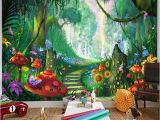 Fairy Garden Mural Custom Mural Wallpaper 3d Cartoon Fairy forest Mushroom Path Wall