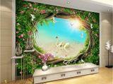 Fairy Garden Mural Wallpaper 3d Fantasy Fairy forest forest Garden Flower Vine Grass