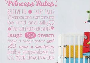 "Fairy Princess Wall Mural Girls Wall Stickers Nursery Wall Stickers ""princess Rules"