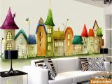 Fairytale Castle Wall Mural Aliexpress Buy Custom Kids Cartoon Wallpaper Mural Fairy Tale