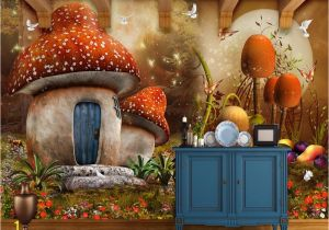 Fairytale Wall Murals Beibehang Custom Wallpaper Fairy Tale Mushroom House Children Room