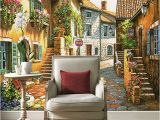 Fairytale Wall Murals Custom European Fairy Tale town Street Mural Wallpaper Dining Room