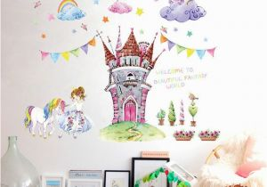 Fairytale Wall Murals Fairy Tale World Castle Cartoon Wall Stickers Beautiful Princess