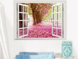Fake Window Wall Mural 3d Cherry Blossoms Fake Windows Wall Stickers Removable Faux Window View Wall Decal Wall Decal for Livingroom Bedroom Decorative Decals Decorative