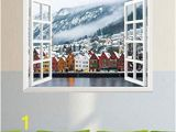 Fake Window Wall Mural Amazon Fashion Wall Sticker Winter View Of Bruges