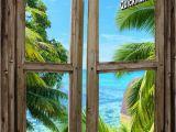 Fake Window Wall Mural Beach Cabin Window Mural 8 E Piece Peel and Stick Canvas