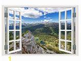Fake Window Wall Mural Minipoco 3d Full Colour High Definition Nature Scenery False Faux Window Frame Wall Sticker Wallpaper Wall Decals 56x89cm K