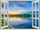 Fake Window Wall Mural Sunset Over Lake Wall Sticker 3d Window Sunset Reflective