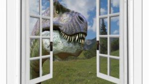 Fake Window Wall Mural T Rex Dinosaur View Mural Fake Window Wall Decal