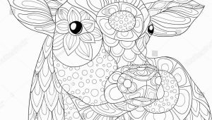 Farm Animal Coloring Pages for Adults Adult Coloring Page Cow Zen Art Style Illustration