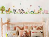 Farm Animal Wall Murals J458 Farm Animals Cow Horse Kids Wall Stickers Bedroom Girls
