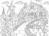 Farm House Coloring Pages Coloring Book Page Of Rural Landscape Farm House Windmill