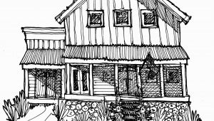 Farm House Coloring Pages My House & Studio In the Country Black Line Drawing Mwoodpen