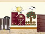 Farm theme Wall Mural Farm Nursery Decal Girl Wall Art Barn Apple Tree Decor Kids Baby Floral Room Mural