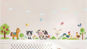 Farm theme Wall Mural Lovely Animals Farm Wall Stickers for Home Decoration Kids Room Bedroom Cow Horse Pig Chicken Mural Art Pvc Wall Decals Tree Wall Stickers Tree Wall