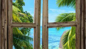 Faux Window Murals Beach Cabin Window Mural 8 E Piece Peel and Stick Canvas Wall Mural