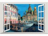 Faux Window Wall Murals 3d View City Scenery Window Wall Stickers for Home Living