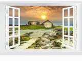 Faux Window Wall Murals Amazon Shobrilf Sunset On the Cottage Nature