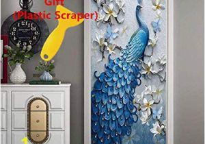 Feature Wall Wallpaper Murals Amazon 3d Door Wallpaper Wall Mural Peacock Decor Door Decal