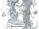Female Tattoo Coloring Pages Beautiful Portrait Of Woman with Flowers