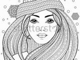 Female Tattoo Coloring Pages Young Beautiful Girl with Long Hair In Knitted Hat Tattoo