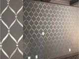 Fence Mural Stencils Modern Masters Silver Metallic Paint Stenciled On Media Room Walls