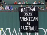Fenway Park Green Monster Wall Mural Racism is as American as Baseball Fenway Park Fans Sign