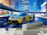 Ferrari Wall Mural Cool Yellow Sports Car City Night Landscape 3d Wall Mural Wallpaper