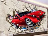Ferrari Wall Mural Custom Mural Wallpaper 3d Red Car Broken Wall Wallpaper