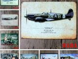 Fighter Jet Wall Mural Vintage Aircraft Retro Tin Metal Painting Sign Wall Decor Vintage Tin Poster Cafe Shop Bar Home Decor