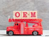 Fire Truck Mural for Wall & Art Print Red Fire Truck Hold Letter Block In Word
