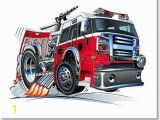 Fire Truck Mural Free Art Print Of Cartoon Fire Truck