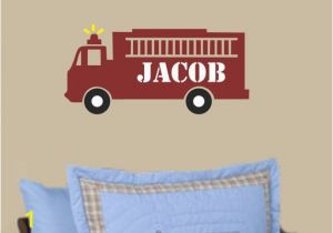 Fire Truck Wall Murals Fire Truck Wall Decal Boys Name Wall Decal Personalized Name