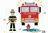 Fire Truck Wall Murals Fireman with Fire Truck & Fire Hydrant Vinyl Wall Decals Children S Room or Playroom Wall Sticker