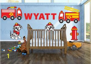 Fire Truck Wall Murals Firetruck Wall Decal Personalized for Baby Nursery Wall