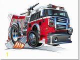 Fire Truck Wall Murals Free Art Print Of Cartoon Fire Truck