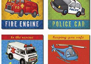 Fire Truck Wall Murals Popular Fire Truck Ambulance Helicopter and Police Car Great for A Childs Room or Nursery Four 8x8in Poster Print Blue Red Yellow Green