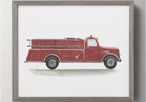 Fire Truck Wall Murals Watercolor Vintage Vehicle Art Fire Engine