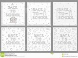First Week Of School Coloring Pages Back to School Backgrounds Set Coloring Pages Stock Vector