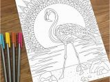 Flamingo Coloring Pages Pdf Flamingo On the Beach Pdf Zentangle Coloring Page therapy Coloring Digital Download Printable Adult Coloring Page