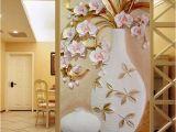 Floral Mural Designs Custom 3d Mural Wallpaper Embossed Flower Vase Stereoscopic Entrance