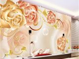 Floral Wall Murals Canada Custom Any Size New Custom 3d Beautiful Golden Rose 3d Tv Wall Mural Wall Papers for Tv Backdrop High Resolution Widescreen Wallpaper High Resolution