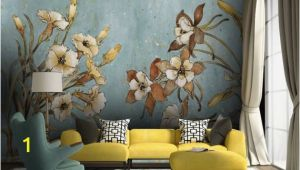 Flower Wall Mural Painting Vintage Floral Wallpaper Retro Flower Wall Mural Watercolor