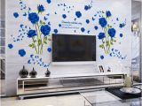 Flower Wall Murals Stickers wholesale Blue Flower Mural Rose 3d Wall Stickers Mural Wallpaper for sofa Tv Background Room Murals Flower Wall Decal Flower Wall Decals From
