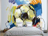 Football Murals for Bedrooms Modern Fashion Hand Painted Graffiti Football Wallpaper Custom Mural